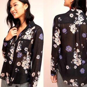 CLOTH & STONE Black FLORAL Sheer TAVIRA Top